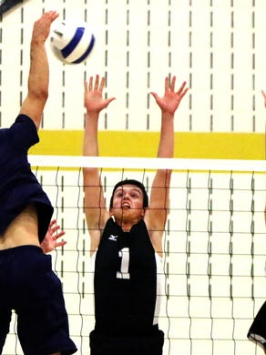 Southern's Brennan Davis (center) and Shane Drayton (right) block Wayne Valley's Mike Foglin in the state semifinals at South Brunswick High School Tuesday, June 7, 2016.