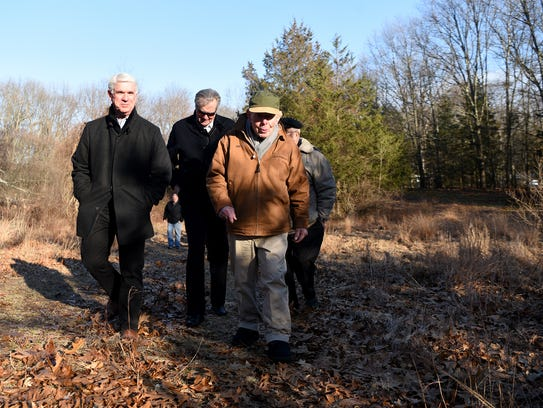 Bud Schwartz, front, and his wife Alice sold 12.2 acres of undeveloped land located on Blue Hill Terrace to the Franklin Lakes.