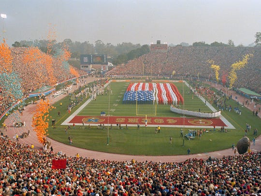 In this Jan. 20, 1985, file photo, Stanford Stadium is viewed during Super Bowl XIX between the San Francisco 49ers and the Miami Dolphins in Stanford, Calif. The Super Bowl returns to the technology-rich, football-crazed Bay Area for the first time since 1985 to celebrate its 50th edition.