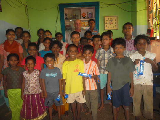 Steve Lemay at an orphanage in India.