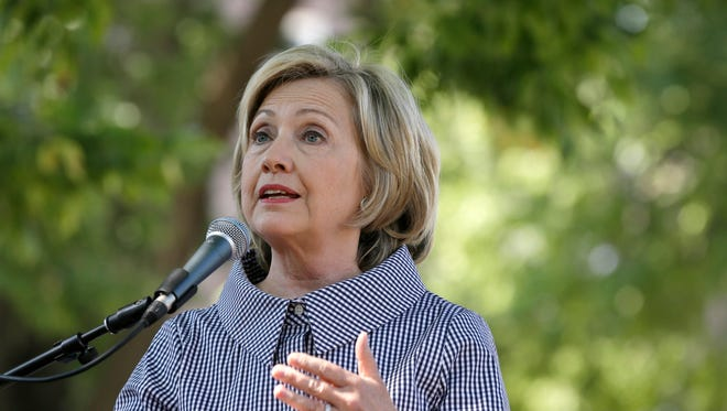 Hillary Clinton speaks at the Iowa State Fair in Des Moines on Aug. 15, 2015.
