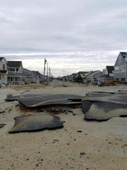 A portion of road surface from Route 35 that was torn off its foundation by superstorm Sandy.