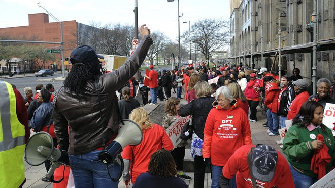 Detroit Federation of Teachers organizing for a rally outside the DPS offices in Detroit.