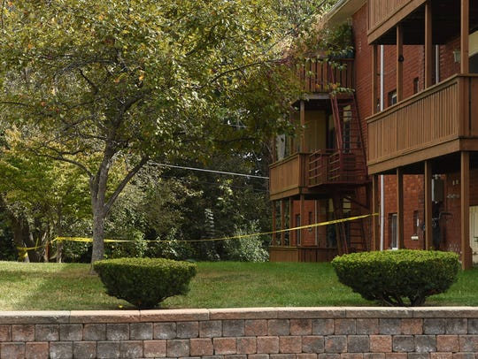 A view of the crime scene at Dutchess Apartments in