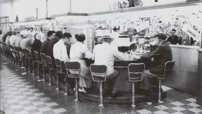 A look in 1957 at the lunch counter in S.S. Kresge Company, which opened in Sheboygan on Nov. 13, 1924, on the northeast corner of North Eighth Street and Wisconsin Avenue. This was a small store devoted to five- and 10-cent merchandise.