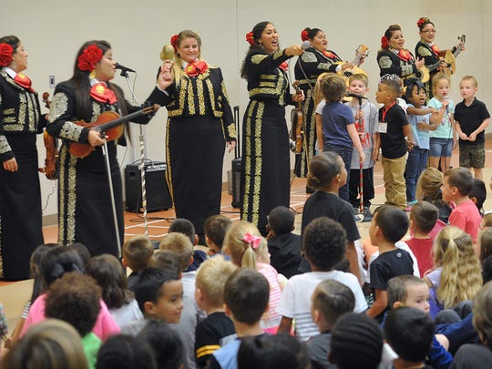 The Mariachi Divas got some help from a few Ben Milam Elementary students when they performed several Disney songs during an appearance Friday. The entire, all-female band will be in concert Saturday at 7:30 at the Wichita Theatre.