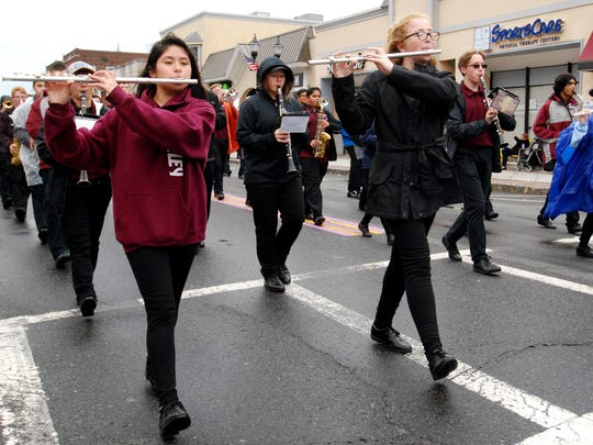 The Nutley High School Raiders Marching Band performs