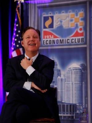 Brian France, NASCAR chairman and CEO, addresses the Detroit Economic Club meeting Thursday at the Dearborn Inn Marriott.