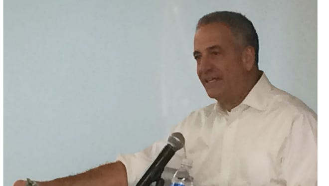 U.S. Senate candidate Russ Feingold speaks at the Manitowoc Democratic Party canvass launch event Thursday.