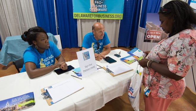 Citizens for a Pro-Business Delaware staff a booth at the Delaware State Fair this summer. The Delaware Supreme Court denied a motion filed by a group of TransPerfect workers in support of an appeal filed by co-owner Phillip Shawe.