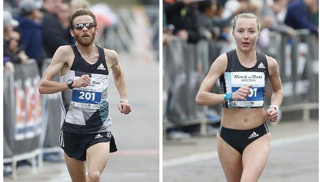 Jeffrey Eggleston and Neely Spence Gracey, both from Boulder, Colorado, win the Rock 'n' Roll Arizona half marathon, Jan. 15, 2017.