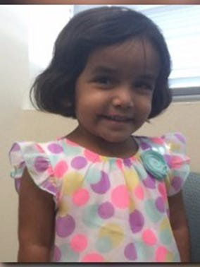 Sherin Mathews, 3, was put outside at 3 a.m. Saturday, Oct. 7, 2017, as a punishment for not drinking her milk, according to an arrest warrant affidavit. When her father went to check on her 15 minutes later, she was not there.