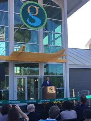 Greenville Mayor Knox White speaks at a grand opening of the city's new pubic works campus.