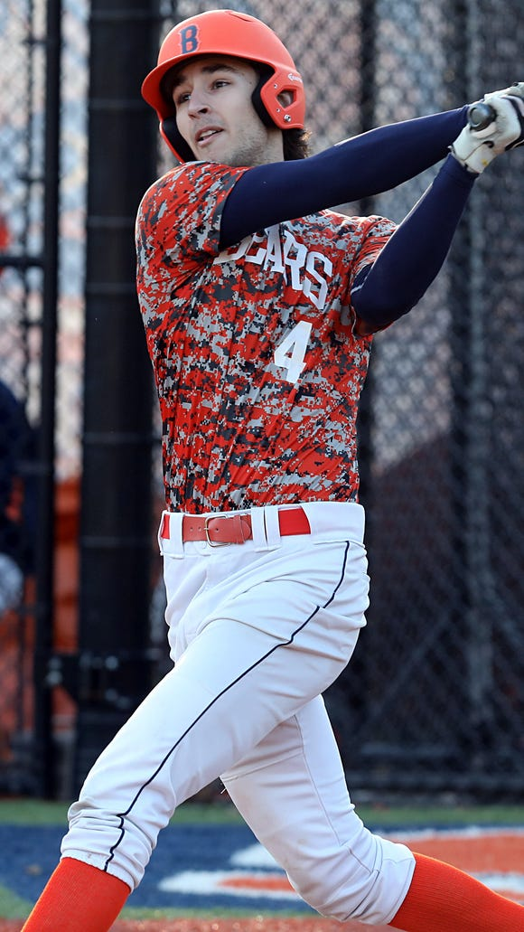 Briarcliff's Noah Campo (4) hits a home run in baseball game at Briarcliff High School April 18, 2018.  Briarcliff defeats Pleasantville 15-2.