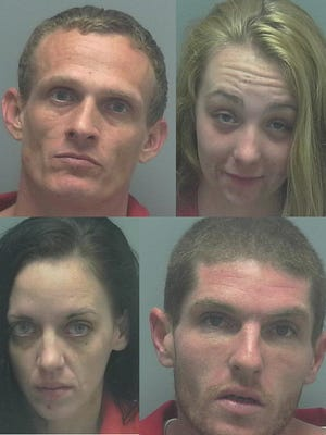 These four are accused of burglarizing a Gateway home. From left to right: Robert Aponte, Stephanie Horton, Michael Zeff and Kimberly Sandy