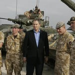 Britain's then-Prime Minister Tony Blair meets soldiers at Shaibah logistics base, in Basra, Iraq, in 2005.