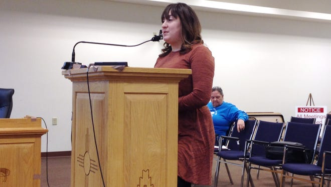 Bianca Padilla, Juvenile Probation and Parole Office program coordinator, discusses the Community Youth Building Program with the Silver City Town Council on Tuesday.