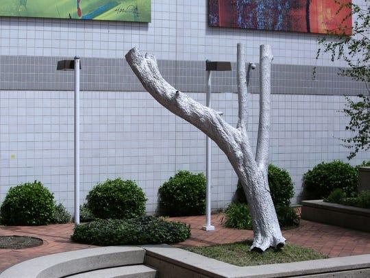 """X-Ray,"" a sculpture by artist Robert Lobe outside"