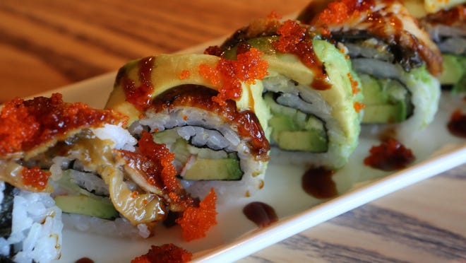 The Dragon Roll at the Sushi station at Exit 4 Food Hall in Mount Kisco.
