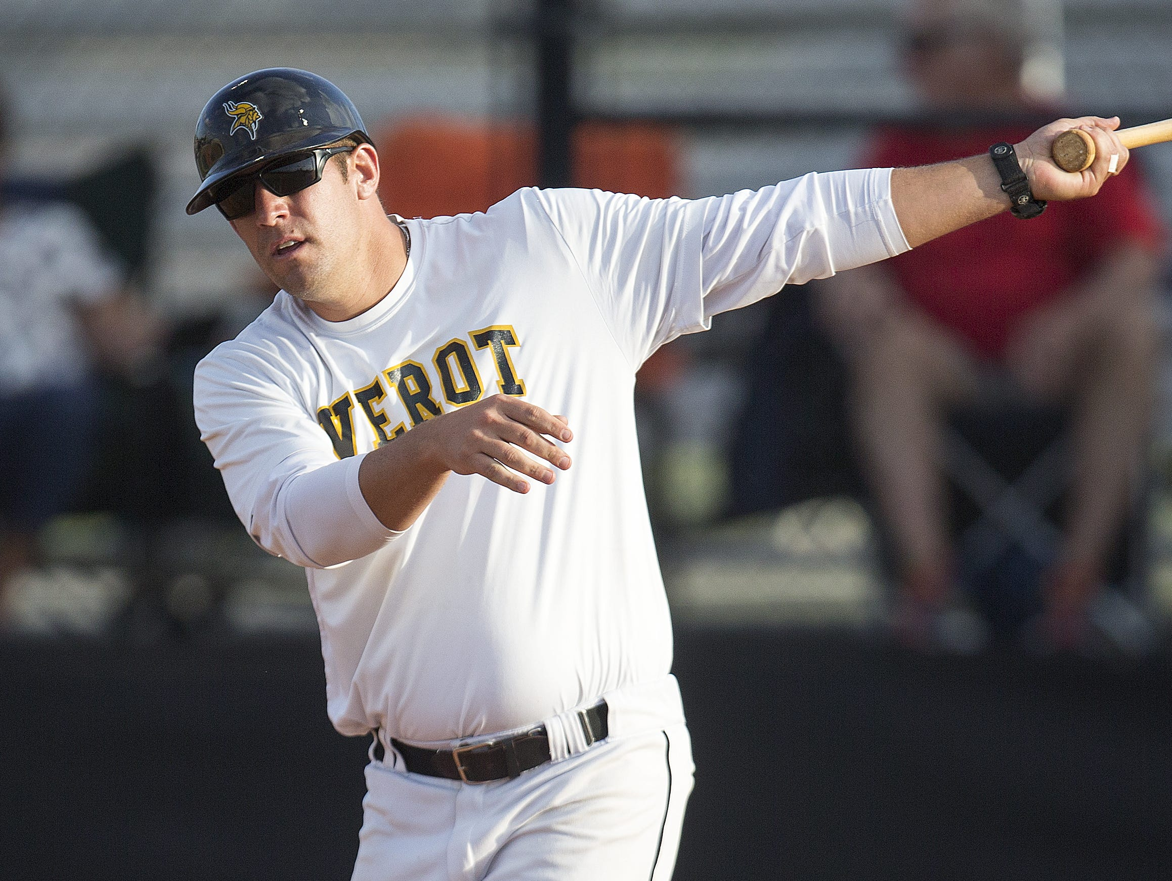Bishop Verot High School baseball coach David Nelson leads fielding drills before a game recently at Duane Swanson Field in Fort Myers. (4/22/16)