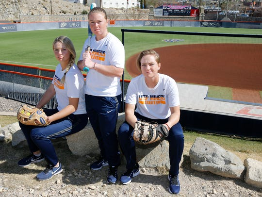 UTEP softball seniors Courtney Clayton, an infielder from Glencoe, Oregon, Kaitlin Ryder, a utility player from Chatsworth, Calif. and Taylor Sargent, a utility player from Albuquerque, N.M.