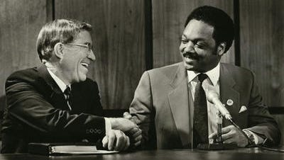 Then-Gov. Evan Mecham met with Rev. Jesse Jackson in 1987, agreeing to disagree on an MLK holiday.