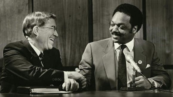 Then-Gov. Evan Mecham met with Rev. Jesse Jackson in