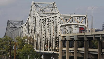 The Brent Spence Bridge as seen from Covington. Political realities suggest that tolls will be needed to finance the replacement project.