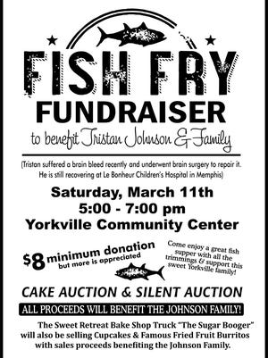 A fish fry fundraiser, cake auction and silent auction will be held Saturday at Yorkville Community Center to benefit a young boy and his family.