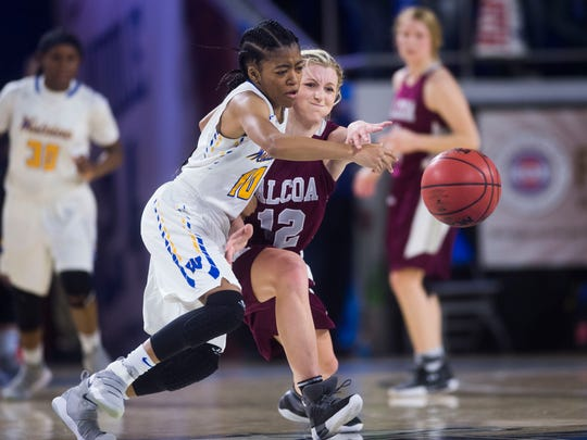 Westview's Zanasha Gadlen (10) and Alcoa's Madison McClurg (12) fight for the ball during a Div. I-AA state quarterfinal girls basketball game between Alcoa and Westview at Middle Tennessee State University in Murfreesboro, Tenn. Thursday, March 8, 2018. Westview defeated Alcoa 41-36.