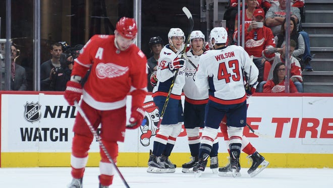 The Capitals scored two goals late Friday to give the Wings their third straight loss.