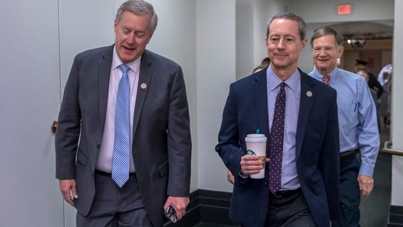 Rep. Mark Meadows, R-N.C., left, joined by House Armed