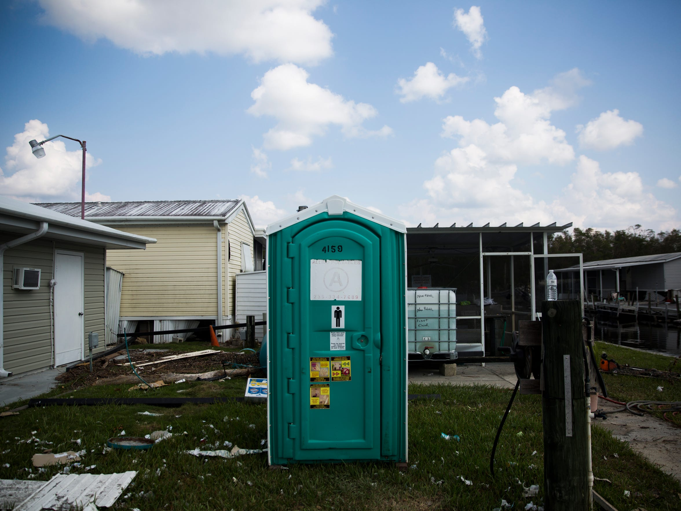 A single portable toilet sits in Fisherman's Cove RV Park on Thursday, Sept. 21, 2017, in Everglades City.