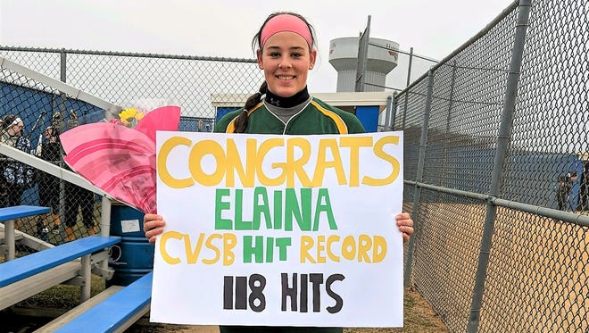 Clearview senior Elaina Hansen picked up her 118th career hit on Monday against Hammonton to set a school record.