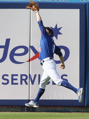 Ty Kelly makes this catch in centerfield. The Mets played their first game of the exhibition season.