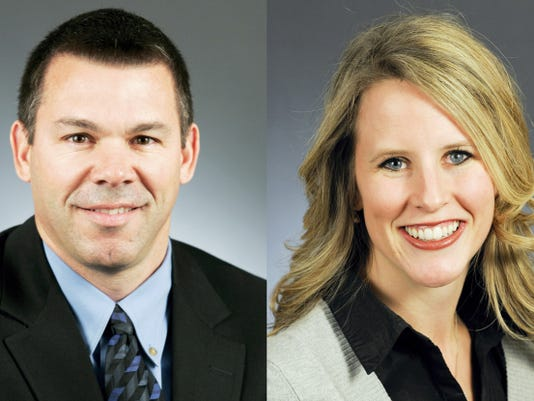 FILE - This combination of photos provided Sept. 2, 2015 by the Minnesota House of Representatives shows Rep. Tim Kelly, R-Red Wing, left, and Rep. Tara Mack, R-Apple Valley. The two state lawmakers, also married to other people, were forced to step down from an ethics committee after a ranger cited them with a misdemeanor for making out in a public park. (Courtesy Minnesota House of Representatives via AP, File)
