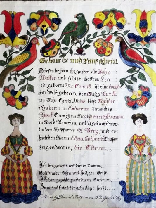 This York County Fraktur is to be auctioned May 5 at Wehrly's Auction. June Lloyd, local historian and librarian emeritus with the York County Historic Trust, guesses the Fraktur could sell for as high as 4,000.