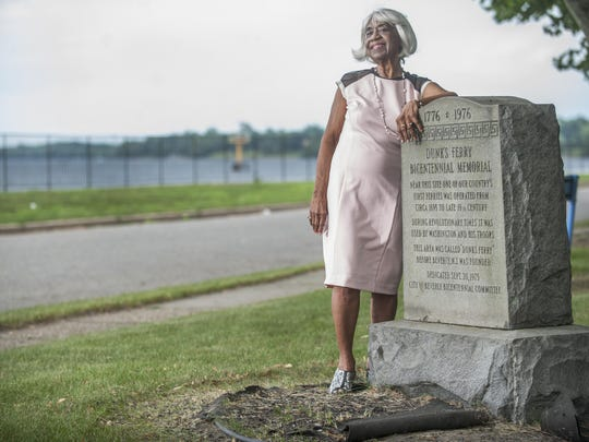 Helen Henry, 85, believed to be the oldest black woman born and still living in Beverly, is a member of Riverfront Historical Society. She stands by the Dunk's Ferry Monument that is located near the Delaware River on the Beverly waterfront. Dunk's Ferry was the early name for Beverly. 06.17.15