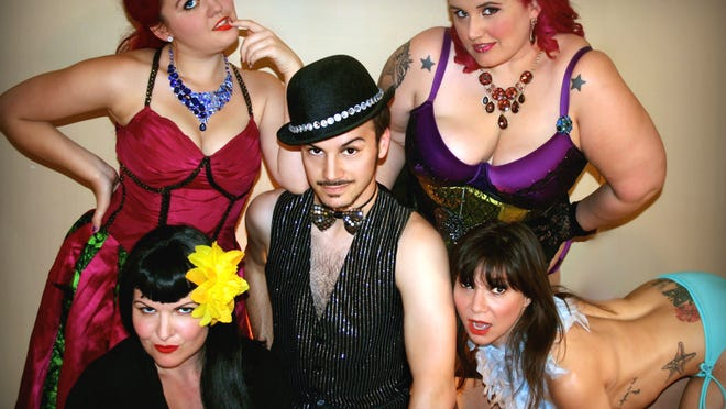 The Diamond Devil Revue performers from the left, Lucy Furr, Jezzie Jay, Mr. Buttz, Mia Moore, Sugar Bits.