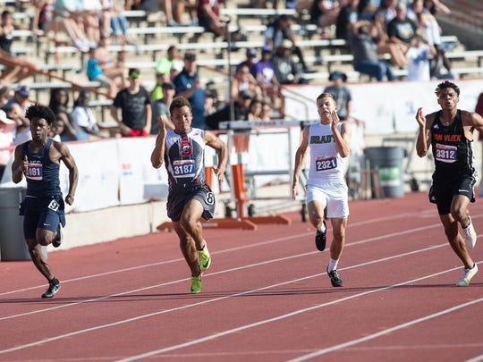 The boys 3A 100 meter dash during the UIL State Track and Field meet at Mike A Myers Stadium in Austin Texas on Friday, May 11, 2018.