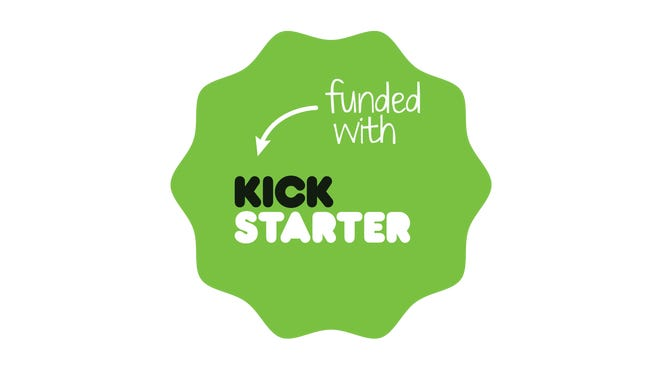 "Kickstarter's ""funded"" logo appears on successful projects."