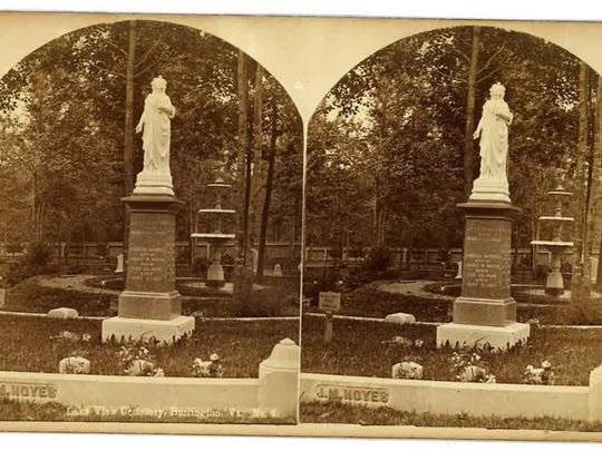 A vintage postcard shows the fountain at Lakeview Cemetery.