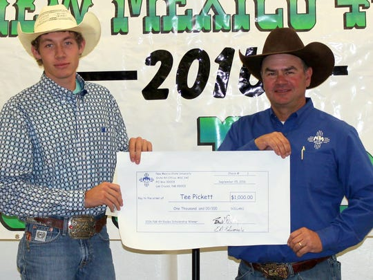 Tee Pickett 2016 4-H Rodeo Scholarship recipient, pictured with Boyd Proudy, 4-H Rodeo Board Vice President.
