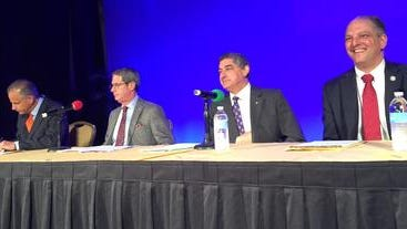 The gubernatorial forum at the Farm Bureau Federation Convention in 2015 set the tone for the campaign eventually won by John Bel Edwards, far right.
