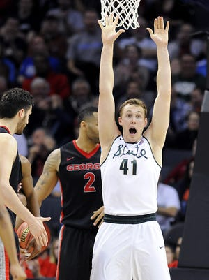 MSU's Colby Wollenman in this March file photo.