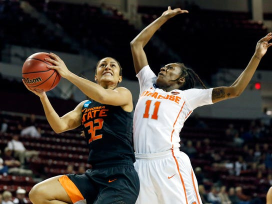 Oklahoma State guard Loryn Goodwin (32) attempts a layup past Syracuse guard Gabrielle Cooper (11) during a first-round game in the NCAA women's college basketball tournament in Starkville, Miss., Saturday, March 17, 2018. (AP Photo/Rogelio V. Solis)