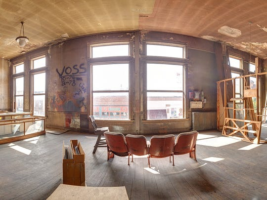 A panoramic photo shows the upstairs of the Fox on Main, which has been closed since 1985 but could reopen as a live-performance venue.