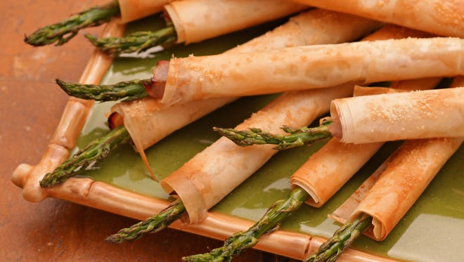 Phyllo-Wrapped Asparagus with Ham and Parmesan.