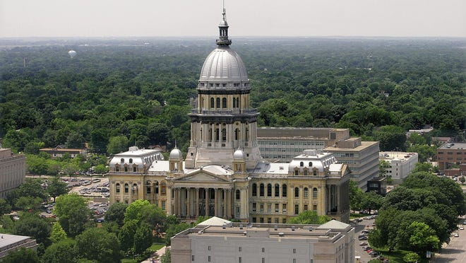This file photo shows the Illinois State Capitol in Springfield.