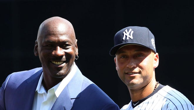 Derek Jeter (center) and Michael Jordan (left) have been friends for more than 20 years.